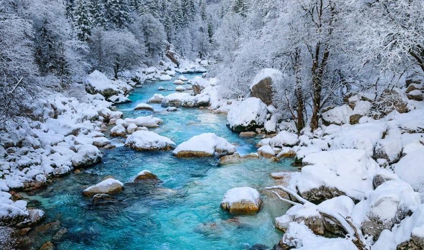 Река в зимнем лесу